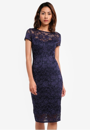 Goddiva navy Lace Midi Dress With Keyhole Back 84692AA0AE41A2GS_1