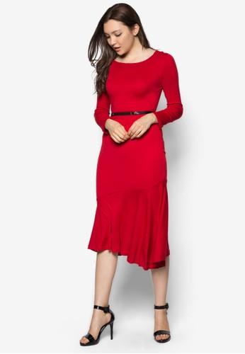 長袖腰帶魚尾連身裙, 服esprit台灣官網飾, 長洋裝