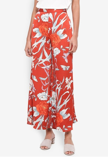 bYSI orange Peony Floral Wide Leg Trousers 7C518AA7AF81B3GS_1