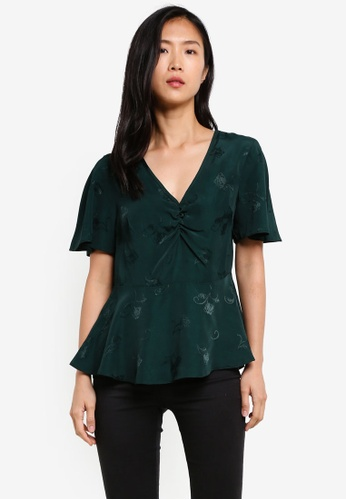 Dorothy Perkins green Green Jacquard Tea Top DO816AA0S79WMY_1
