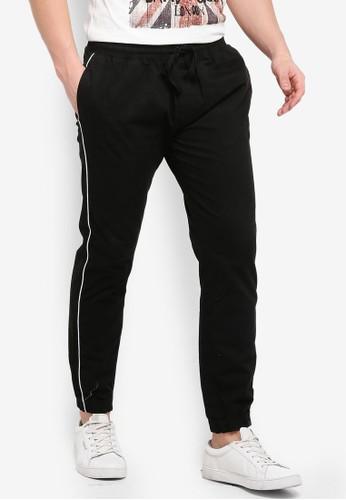 Brave Soul black Fine Cotton Twill Pants with Side Pipe Stripe E238EAAF8B7C57GS_1