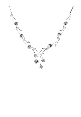 Glamorousky silver Elegant Rose Necklace with Silver Austrian Element Crystals and Crystal Glass D5581AC4A6CA9DGS_1