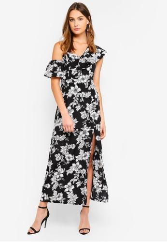 Preen & Proper black Asymmetric Ruffle Floral Maxi Dress F0E00AA9AB632CGS_1