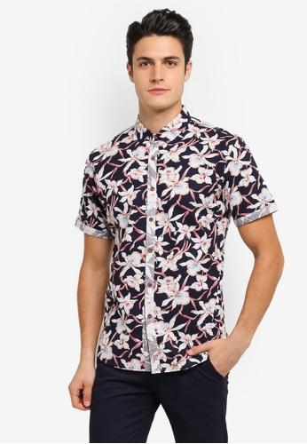 JAXON navy Printed Short Sleeve Shirt 45034AAFDF2B06GS_1