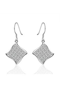Treasure by B&D E573 Plated Geometric Shape Zircon Embellished Dangle Earrings