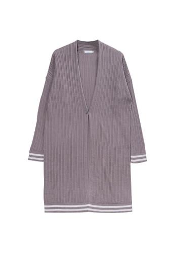KLAPS grey Ribbed Long Cardigan C5B81AAF68B54BGS_1