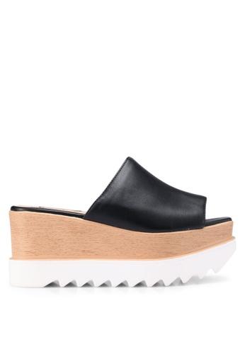 Nose 黑色 Casual Wedge Heel Slides 60993SHC88363BGS_1