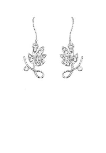 Glamorousky silver Elegant Leaf Earrings with Silver Austrian Element Crystal 37CC7AC80535A0GS_1
