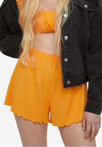 H&M yellow Textured Shorts 79181AA367EC64GS_1