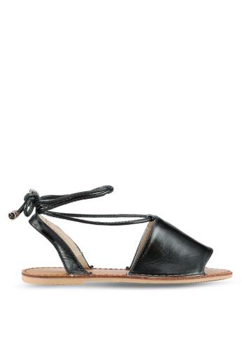 Something Borrowed black Lace Up Wrap Sandals FBA1ASH9EEEA8EGS_1