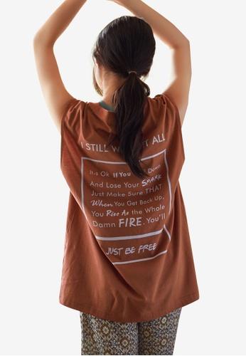 NAIN brown Back Print Muscle Tee D0948AAD149EEBGS_1