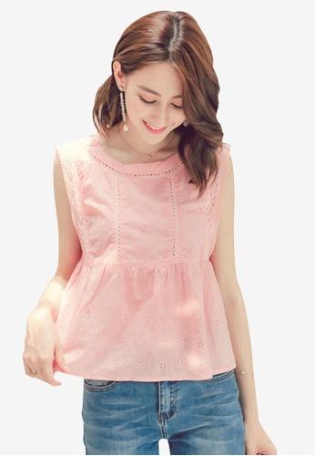 Yoco pink Lace Babydoll Blouse E1BDDAAAEFEAAEGS_1