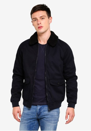 Brave Soul navy Cotton Bonded Jacket With Sherpa Collar E22CAAAAC7FBECGS_1