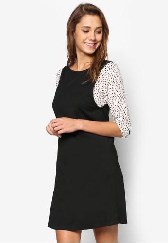 印花拼接連身裙, 服飾,zalora 衣服尺寸 洋裝