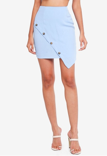 MISSGUIDED blue Button Wrap Co Ord Skirt 639D8AA17F906FGS_1