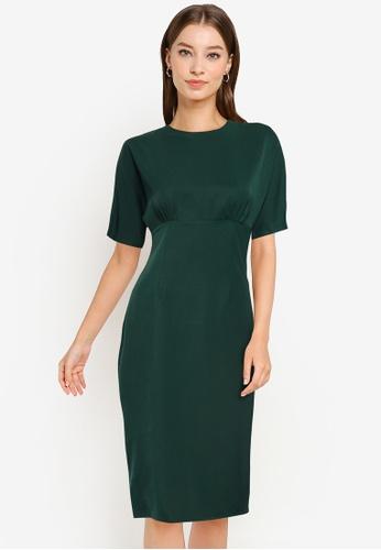 ZALORA WORK green Wide Sleeves Dress 10E8DAA825B326GS_1
