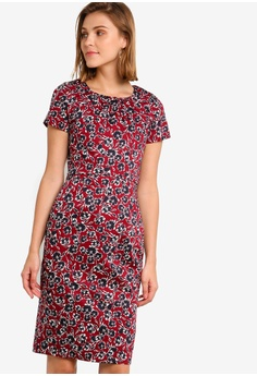 271ee0e787 French Connection red Alletea Cotton Fitted Dress C54C2AAE4713EAGS 1