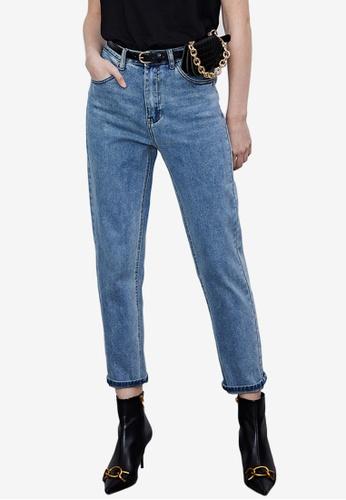 Urban Revivo 藍色 Ankle 短版牛仔褲 B082DAA01F2D12GS_1