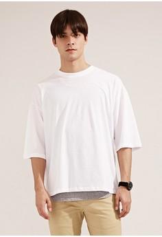 【ZALORA】 韓系必備。透氣純棉。寬版短袖圓領T-MIT-03739-白色