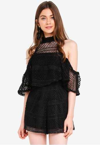 INDIKAH black Cold Shoulder Halter Mesh Playsuit 6BA72AA6ABFA60GS_1