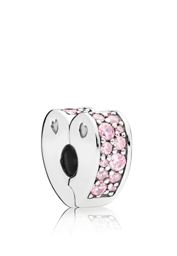0d5f139fd Pandora silver Heart Silver Clip With Pink Cubic Zirconia And Silicone Grip  F4383AC81BE14AGS_1