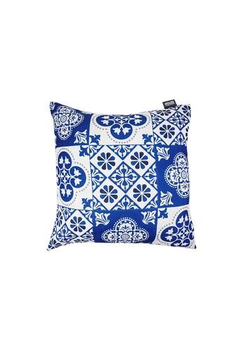 HOUZE blue HOUZE - LIV Peranakan Cushion Cover - Blue B 5F638HL32EF074GS_1