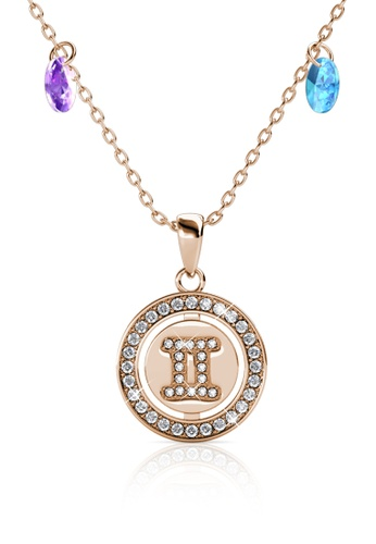 Her Jewellery gold Disc Crystal Pendant (Rose Gold) - Embellished with Crystals from Swarovski® B24B9AC4792D4EGS_1