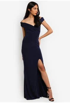 1742e25081c 37% OFF MISSGUIDED Bardot Wrap Slit Maxi Dress HK  329.00 NOW HK  208.90  Sizes 6 8 10 12 14