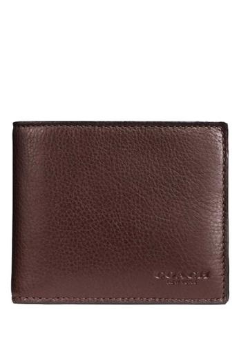COACH brown COACH Compact Id Wallet 8BFA7AC628AAB3GS_1