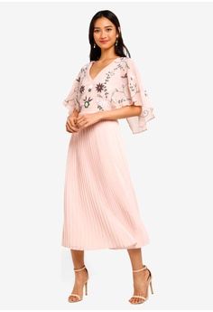 f4af083c3 Frock and Frill pink Embroidered Midi Dress With Pleat Skirt And Cape  4AC1BAA373CC21GS 1
