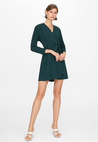 Pomelo green Semi Pleated Tie Wrap Dress - Green 5C96AAA95D6EC8GS_1