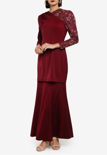 Zalia 紅色 Puff Sleeve Side Drape Kurung Set BB717AAB5E9584GS_1