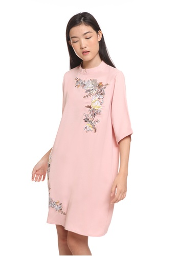 The Executive pink Chinese Mandarin Short Dress 08247AA33C119CGS_1