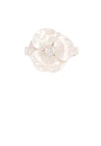Glamorousky white Fashion and Elegant White Flower Large Hair Slide with Cubic Zirconia 1F536AC6F4F146GS_1