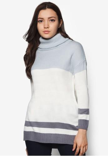 雙色高領長版針織衫, 服飾esprit 品牌, 服飾