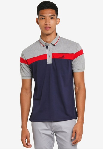 Fidelio grey and navy Contrasted Block Casual Polo Tee 54505AA76B176EGS_1