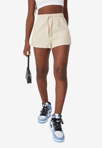 Supre beige Hana Pull On Shorts 8CE97AA3E56EE1GS_1