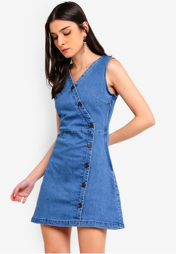 ZALORA blue Wrap Button Details Dress D6CE8AA268CD02GS_1