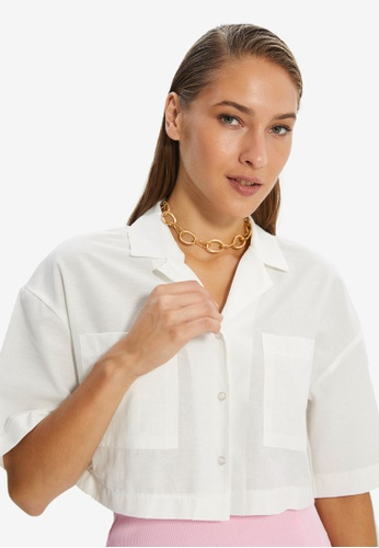 Trendyol white Ecru Shirt EF386AAF438D0CGS_1