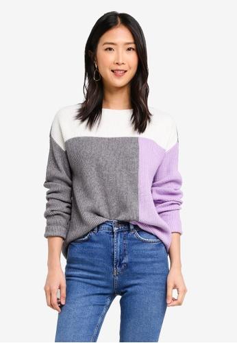 Vero Moda purple and multi Aya Block Long Sleeve Jumper 07748AABA4FD23GS_1