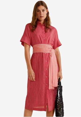Mango red Bow Fine-Stripe Dress 60FFDAAFDB7BECGS_1