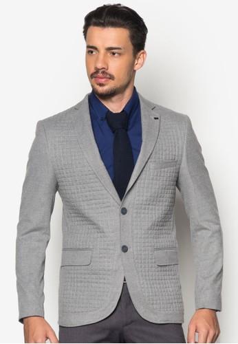 縫線格紋貼身西裝外套, 服飾,esprit home 台灣 外套