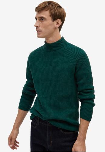 MANGO Man green Structured Wool Sweater 4554CAAC79F4CDGS_1