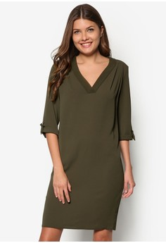 Khaki V-Neck Slouch Dress