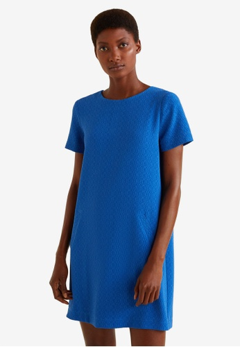 Mango blue Textured Dress C510FAAC85DAB9GS_1