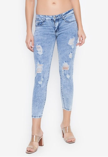 Balaynor blue Skinny Distressed Acid Washed Jeans 5CC05AAD8CB68BGS_1