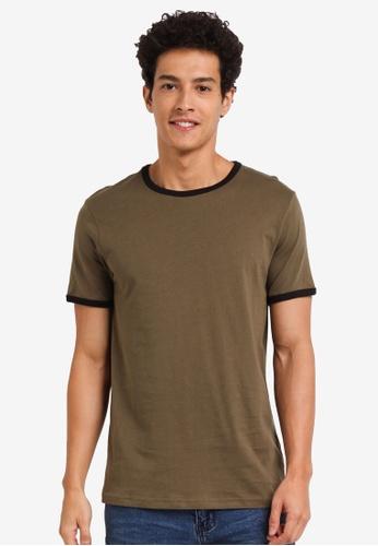 Burton Menswear London green Short Sleeve Khaki And Black Ringer T-Shirt 70669AAE856E18GS_1