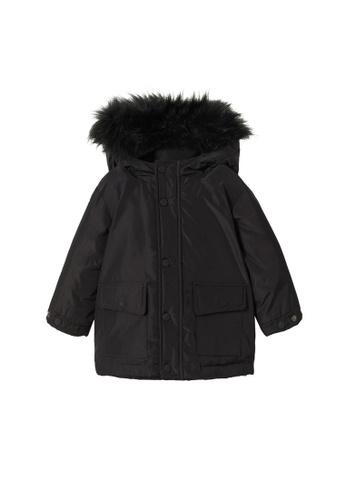 MANGO BABY black Faux Fur Hood Coat CE471KA103918DGS_1