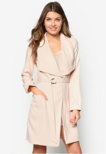 Petite 大翻領扣環長版外套, 服zalora 心得飾, 夾克 & 大衣