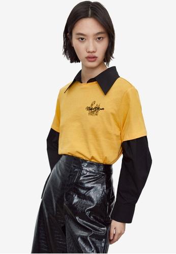 URBAN REVIVO yellow Casual Short Sleeve T-Shirt 3DF44AA2237C47GS_1